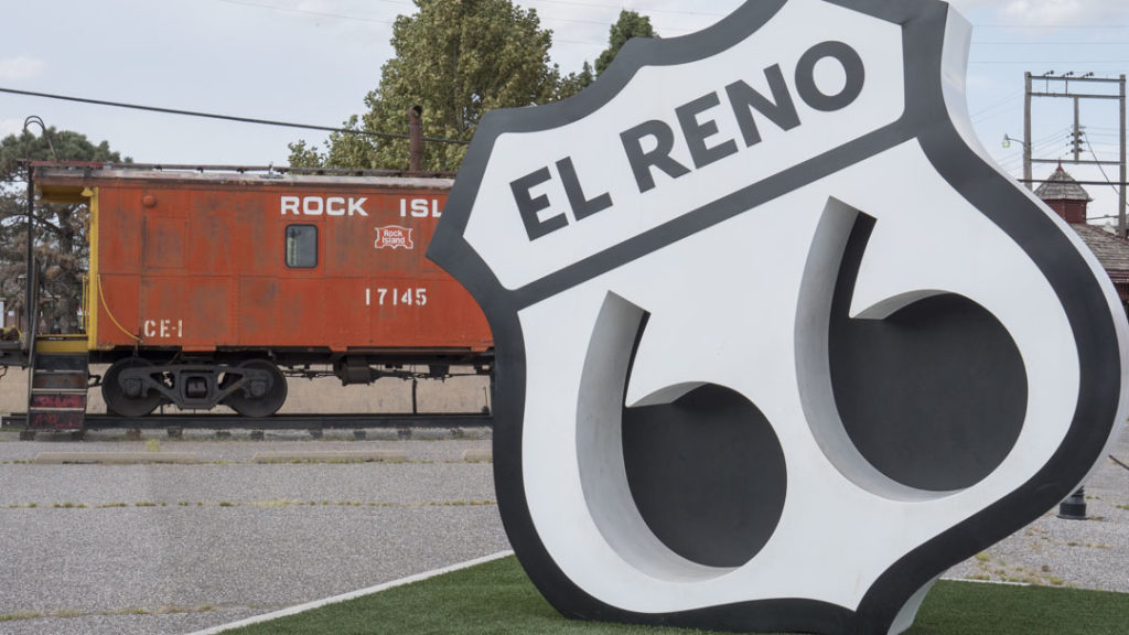 Route 66 Sculpture in El Reno - photo by Dennis Spielman